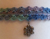 Crocheted Choker, Ocean, with pewter tone flower