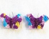 Crocheted Butterfly Earrings, Grape, Spring Flowers