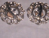 vintage clip on earrings silvertone sarah coventry