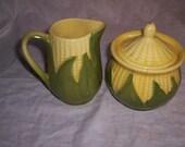 shawnee pottery corn king creamer sugar bowl