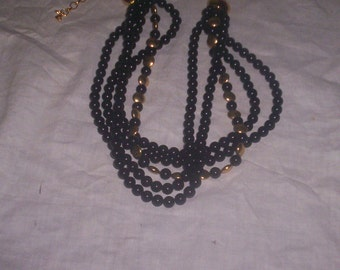 vintage necklace 5 strand black beads