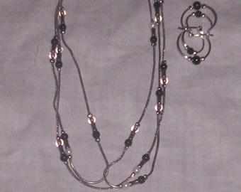 vintage necklace pierced earrings set silver