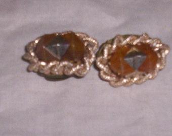 vintage clip on earrings old silver braid