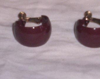 vintage clip on earrings brown metal hoops