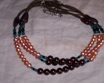 vintage necklace colorful beads 3 strand