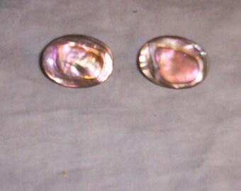 vintage clip on earrings shell silvertone