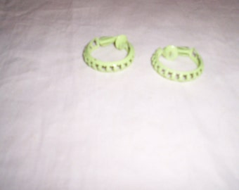 vintage clip on earrings lime green metal