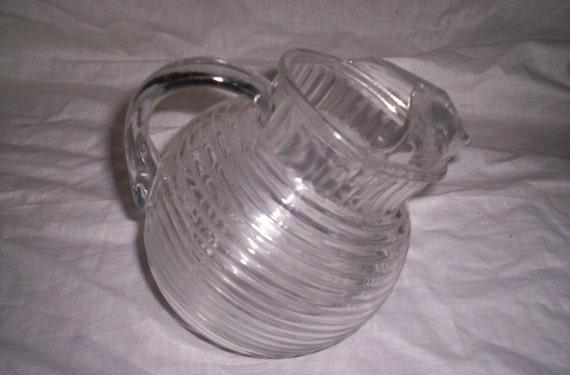 Depression glass juice pitcher ribbed ice lip