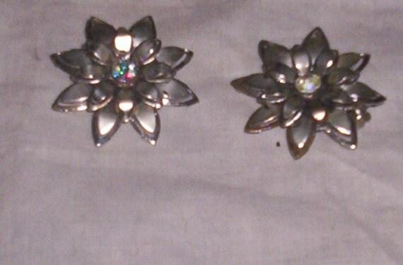 vintage clip on earrings coro silvertone