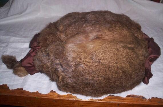 antique edwardian victorian mink muff hand warmer fur