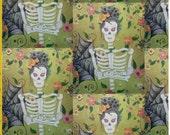 Day of the Dead Skeleton Lady custom fabric original design
