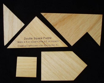 Double Square Wooden Brain Teaser Puzzle