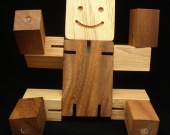 Woodie - Handmade wooden toy - design over 100 yrs old - head, arms, body, legs all move