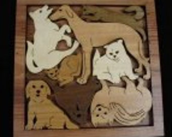 Cats and Dogs Roundup Wood Puzzle