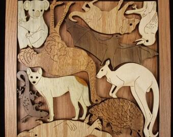 Animals of Australia wood brain teaser puzzle - unique design, beautiful, and challenging
