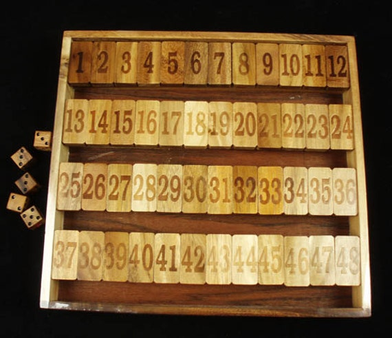 Shut the Box 1-48 Dice Game Wooden Game