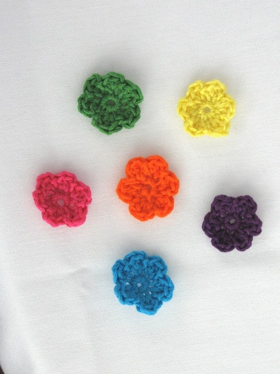 Items similar to tiny embroidery thread crochet flowers on