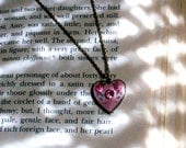 Vintage--Hand Painted Pink & Gold Heart Necklace