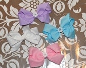4 Hairbows - purple, blue, white, pink