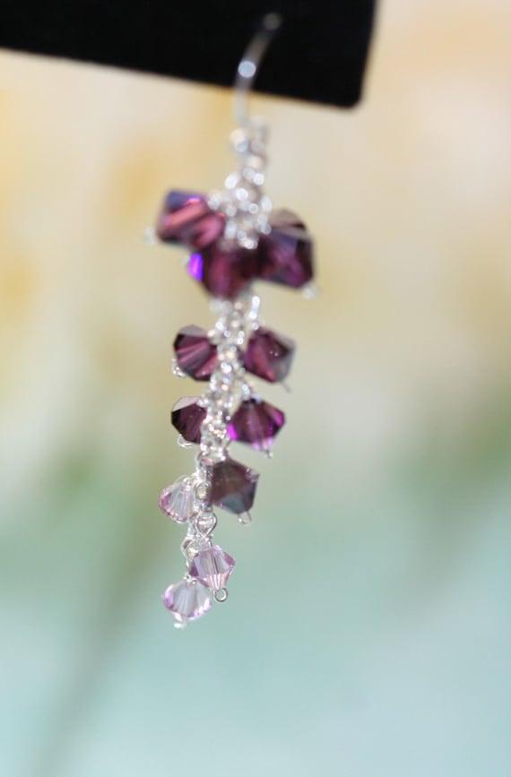 Sterling Swarovski Earrings Amethyst Lilac Dangle