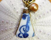 Sea Pottery Sea Glass Necklace Cobalt and White