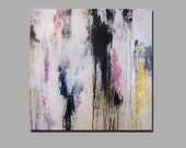 "RESERVED 20"" x 20"" Abstract Painting Pink, Black, Gray, Yellow, White"