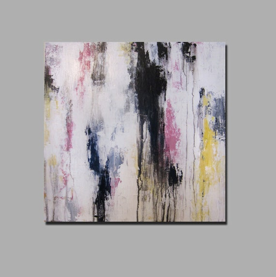 """RESERVED 20"""" x 20"""" Abstract Painting Pink, Black, Gray, Yellow, White"""
