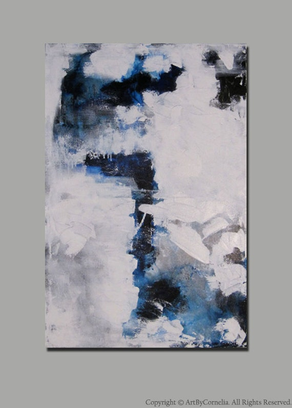 """Abstract Painting Modern Contemporary Blue, White, Silver 36"""" x 24"""""""