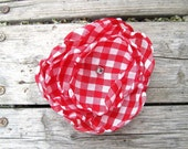 Country Chic Hairclip or Pin in Red and White Check, Rhinestone Center...Handmade Satin Flower