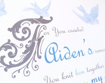 Custom Name Print .. 8x10 Psalm 139 You Are Wonderfully Made ... bird print  From Mother to Child