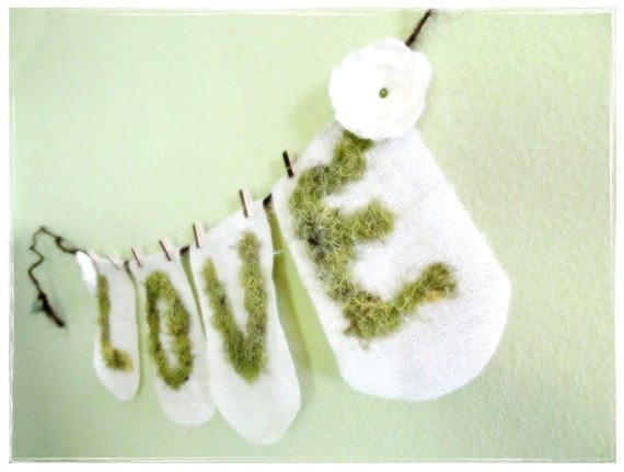 Woodland Mossy LOVE Burlap Garland...Country Fairytale Wedding Photoprop  Reception Engagement Party Home Decor