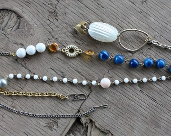 Long recycled vintage bead and chain necklace
