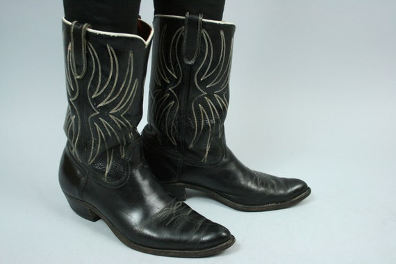 SALE 60s/70s ACME Black Leather White Piping & Stiching Cowboy Boots 9.5 10