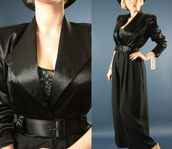 SALE 80s Does 40s Black Satin Double Breasted Belted Pants Suit NWT