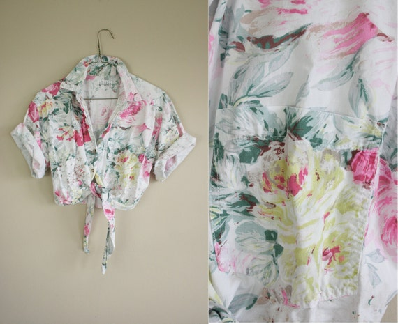 Summer Floral Collar Button Up Front Tie Crop Top