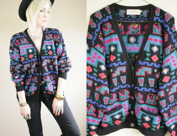 Abstract Native Knit Button Up Cardigan Sweater