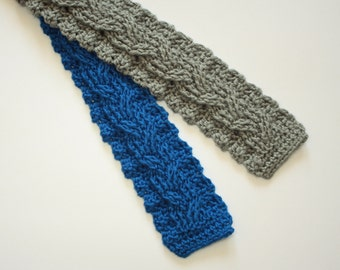 Crochet pattern PDF - Cabled Crochet Tie pattern instant download