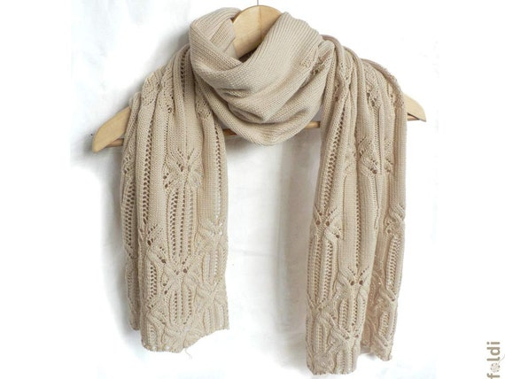 "Knitted lace scarf, merino wool lace scarf, knitted lace wrap in cream colour ""Butterfly"""