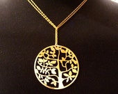 long chain with Tree of Life Laser Cut Pendant