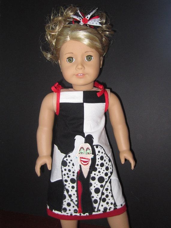 American Girl Disney Villian Cruella DeVille inspired outfit