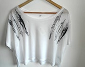 White Crop top hand printed with black feathers