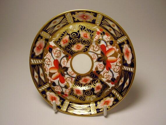 Antique English Royal Crown Derby Imari Pattern Gilded Saucer