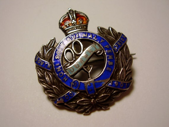 Vintage British Queen's Own Dorset Yeomanry Sterling Silver and Guilloche Enamel Sweetheart Badge Brooch Pin by Thomas L Mott
