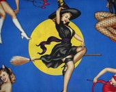 Bewitched Fabric,  Halloween Fabric,  Alexander Henry, Halloween, Pin Ups, Blue Background, Vargas Girls, By the Yard