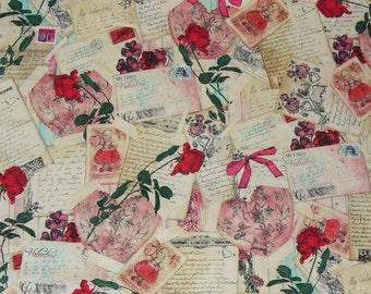 Valentine Fabric / Love Letters /  Postcards Fabric  / My Funny Valentine   / Vintage Style / Valentine Letters / By the Yard
