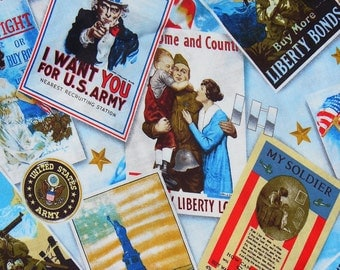 Patriotic Fabric / Liberty Poster Collage /  Uncle Sam / Vintage Postcard Style /  War Bonds / Soldiers / By the Yard