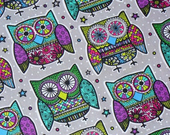 Owls Fabric  / Mosaic Pattern Owls   / Retro Owl Fabric / 1970s  Owls / Oversize Owls fabric / By the Yard