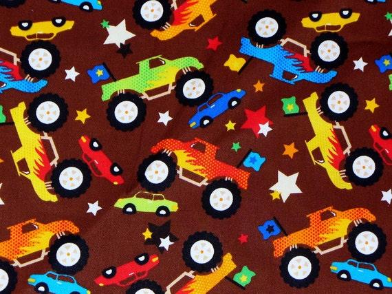 Monster trucks fabric bty 2 yds for by trinketsintheattic for Monster truck fabric
