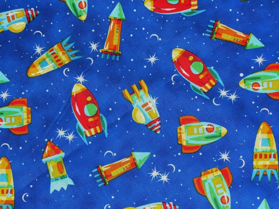 Space ships fabric outer space fabric by for Space fabric by the yard