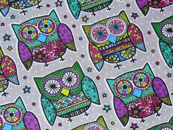 Owls Fabric,  Mosaic Pattern Owls,  Retro Owl Fabric, 1970s  Owls, Oversize Owls , By the Yard